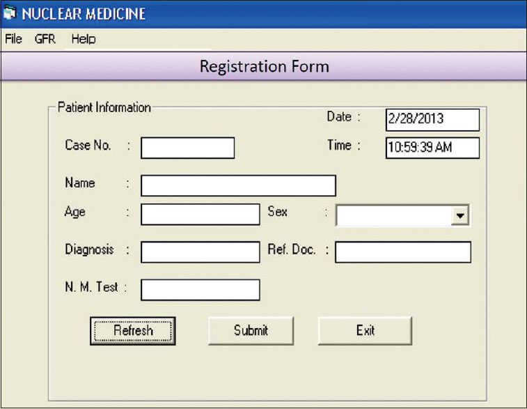 Figure 1: Registration form: This form is used to register patient and patient ID is generated