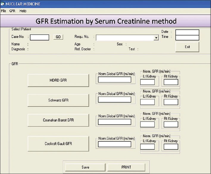 Figure 6: Serum creatinine method (SrCrM) Glomerular filtration rate (GFR) calculation form: This form is used to calculate GFR by SrCrM